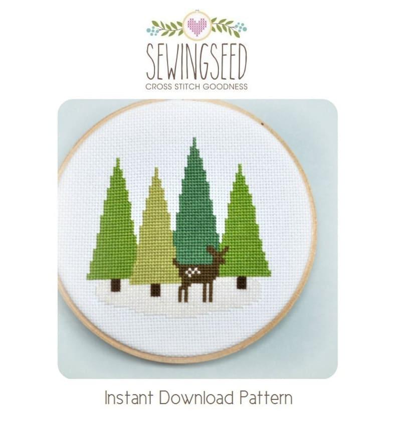 Cross Stitch Pattern  Deer in the Forest Cross Stitch Pattern image 0