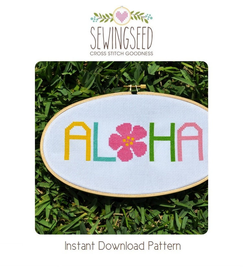 Aloha Cross Stitch Pattern Instant Download image 0