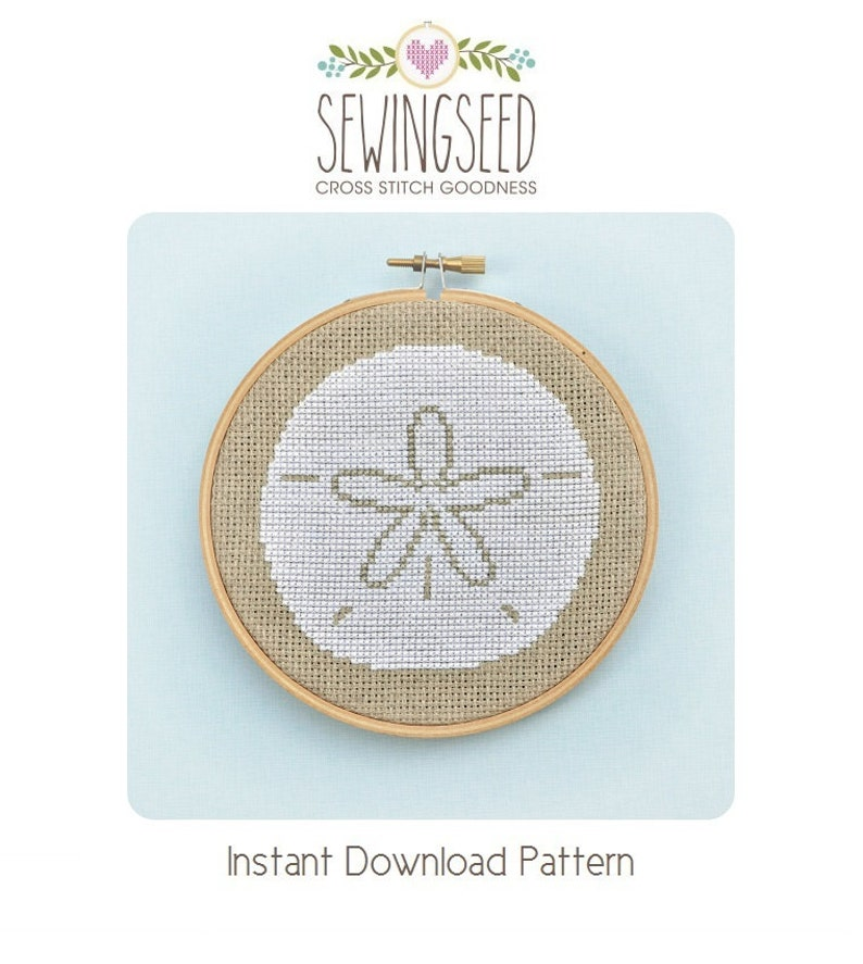 Sand Dollar Cross Stitch Pattern Instant Download image 0