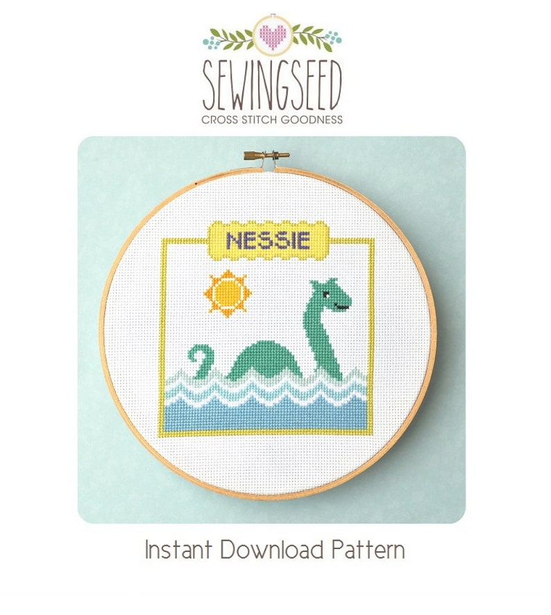 Nessie Cross Stitch Pattern Loch Ness Monster Counted Cross image 0