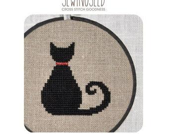 Black Cat Cross Stitch Pattern Instant Download