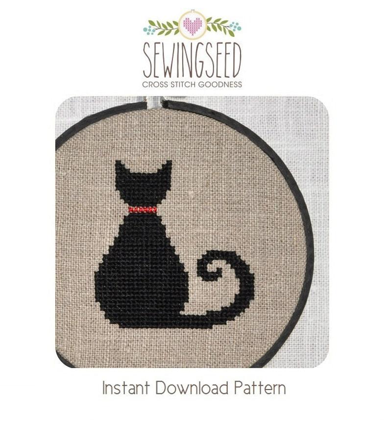 Black Cat Cross Stitch Pattern Instant Download image 0