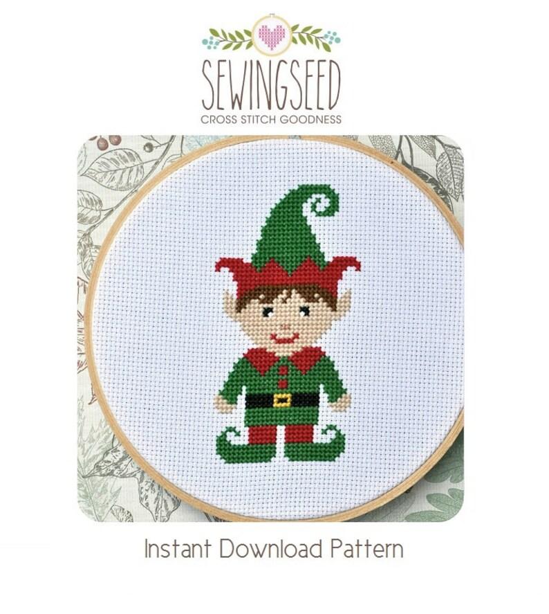 Little Boy Elf Cross Stitch Pattern Instant Download image 0