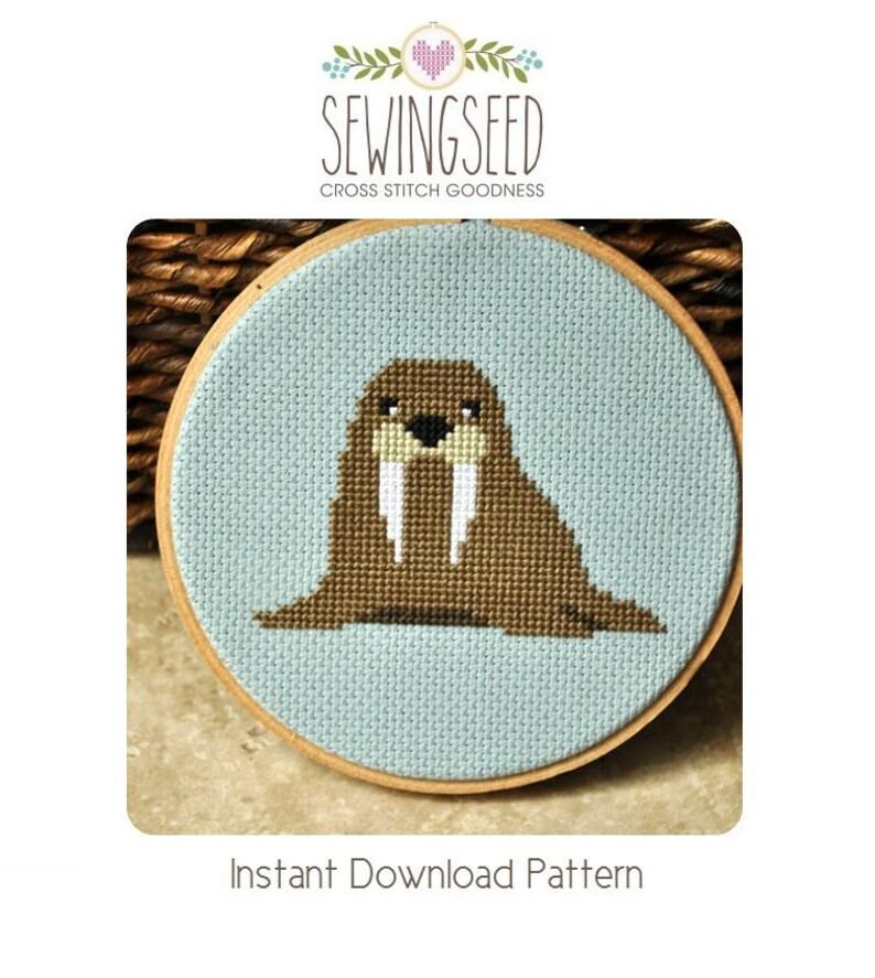 Walrus Cross Stitch Pattern Instant Download image 0