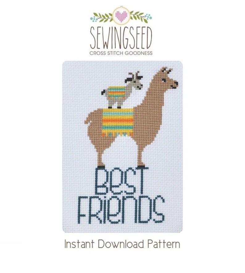 Best Friends Goat and Llama Cross Stitch Pattern Instant image 0