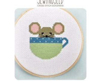 Peekaboo Mouse in a Cup Cross Stitch Pattern Instant Download