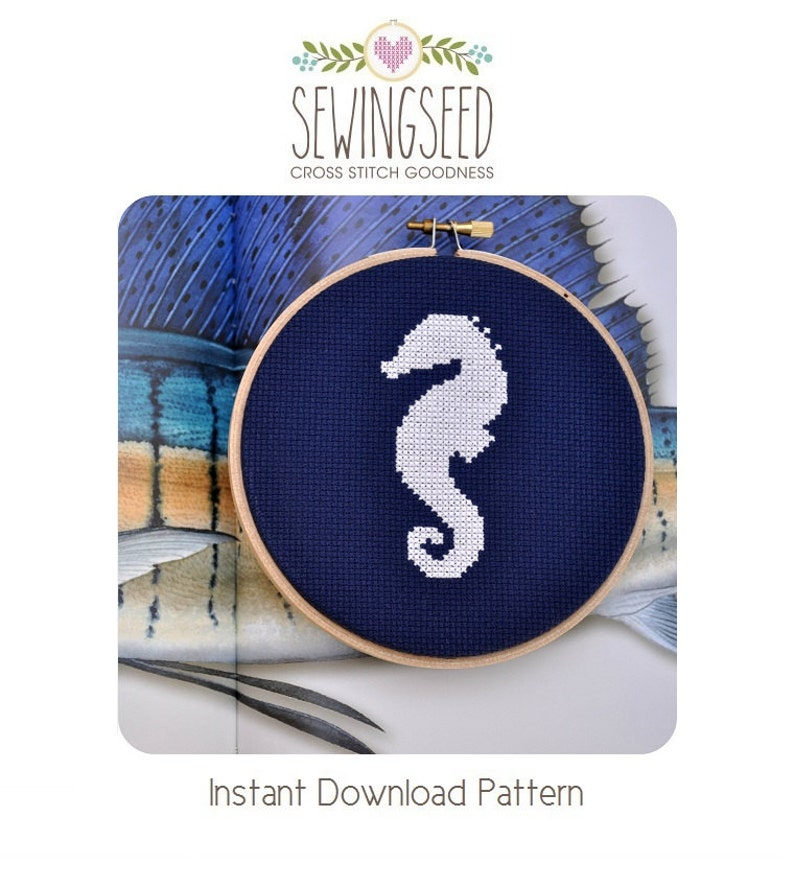 Seahorse Silhouette Cross Stitch Pattern Instant Download image 0