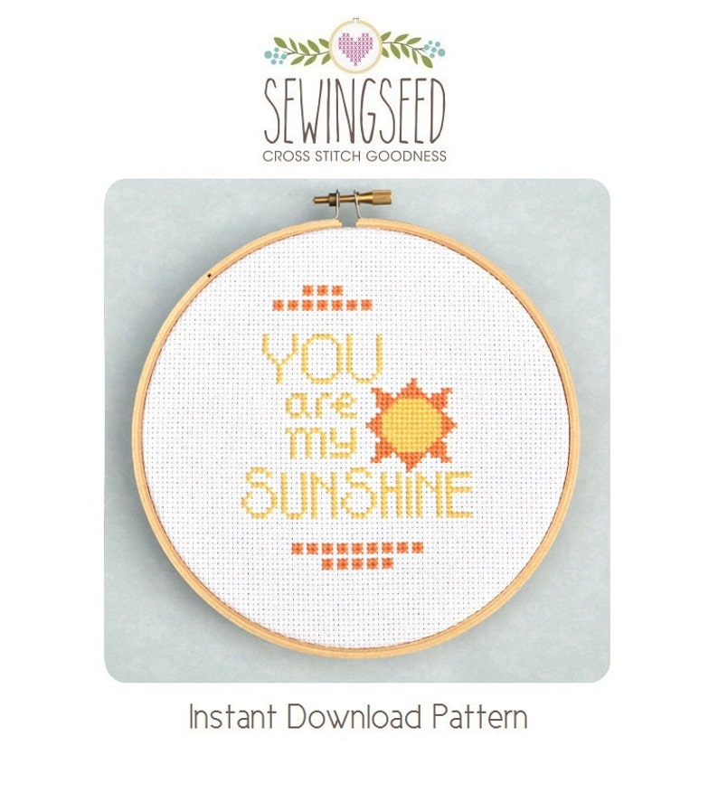 You Are My Sunshine Cross Stitch Pattern Instant Download image 0