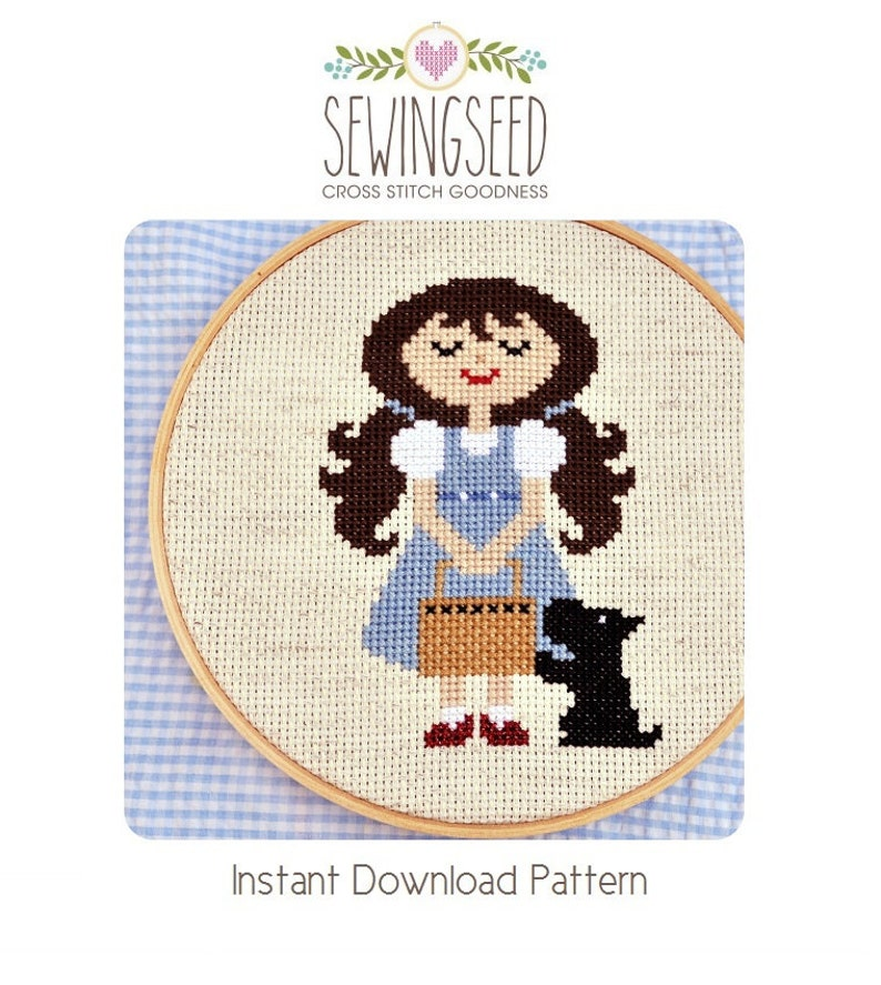 Dorothy and Toto Wonderful Wizard of Oz cross stitch pattern image 0
