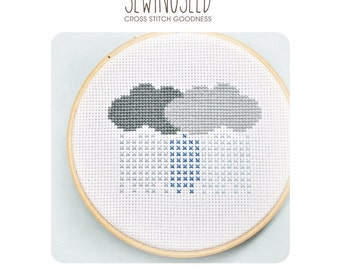 Rain Clouds Stormy Weather Cross Stitch Pattern Instant Download