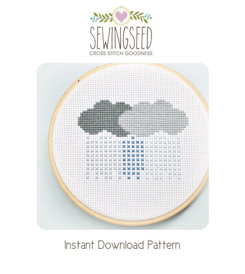 Rain Clouds Stormy Weather Cross Stitch Pattern Instant image 0