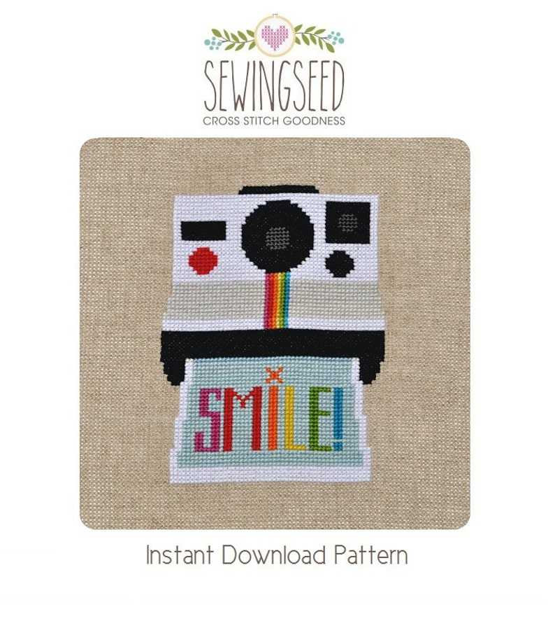 Smile Camera Cross Stitch Pattern Instant Download Instant image 0