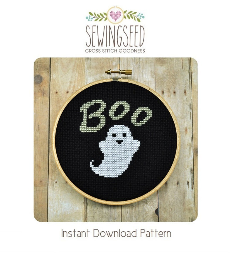 Ghost Cross Stitch Pattern Instant Download image 0