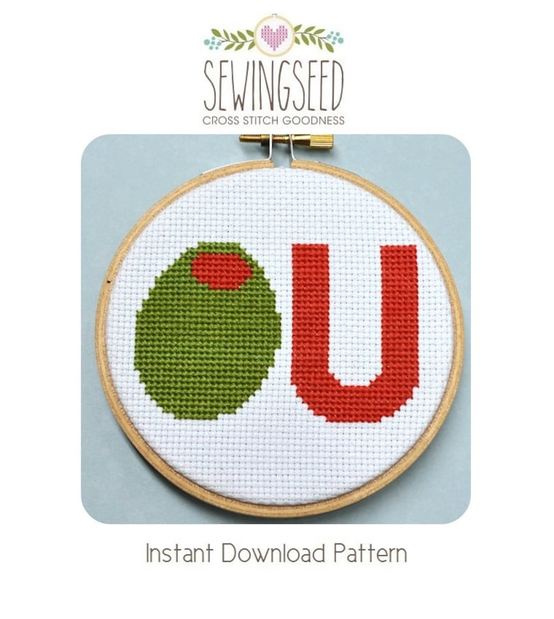 Olive U Counted Cross Stitch Pattern Instant Download image 0