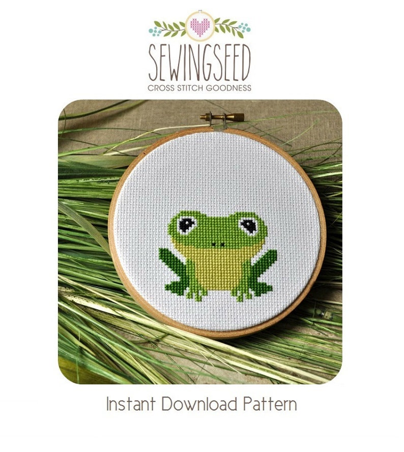 Frog Cross Stitch Pattern Instant Download image 0
