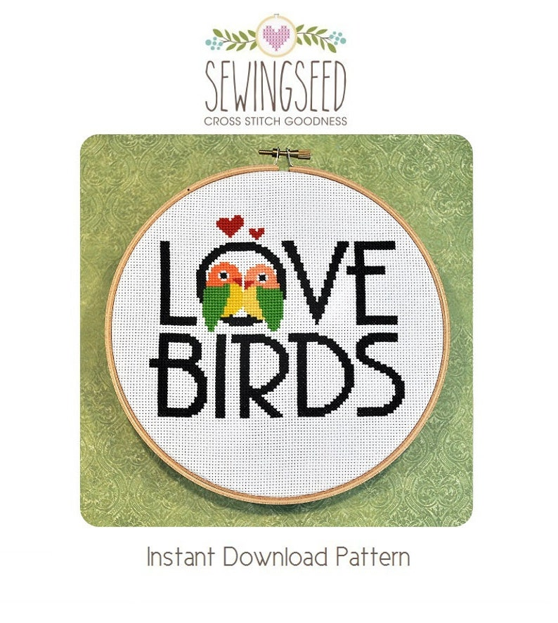 Love Birds Cross Stitch Pattern Instant Download image 0