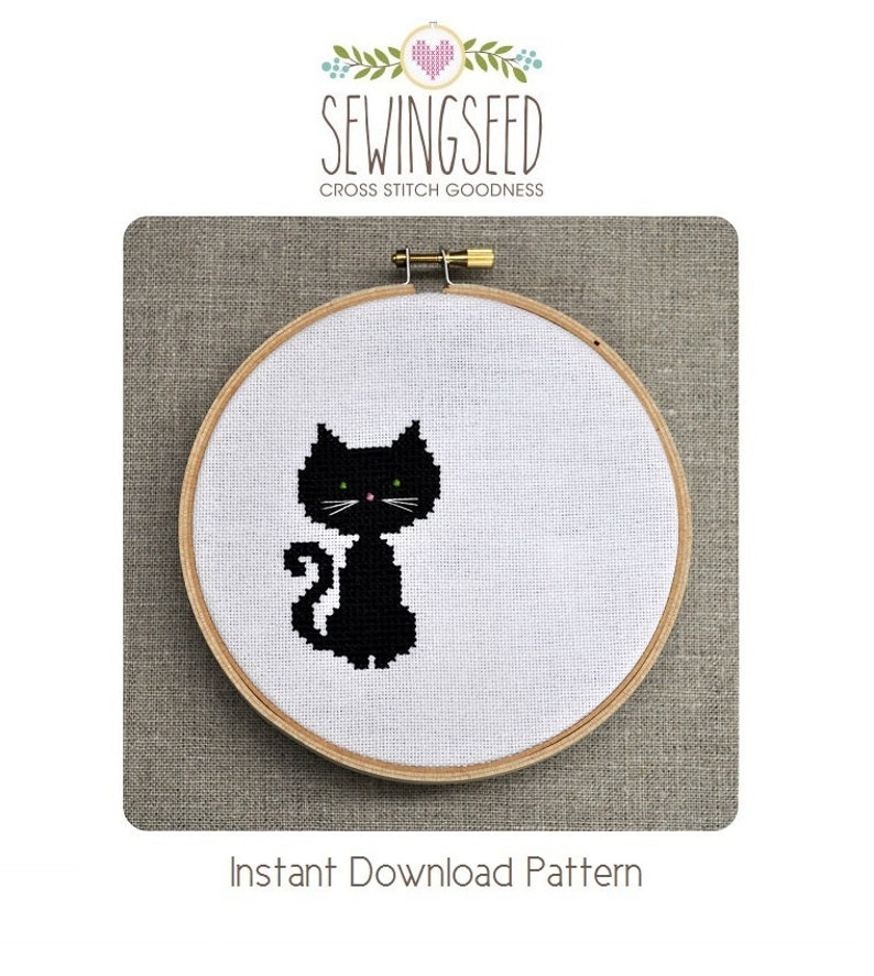 Small Black Cat Cross Stitch Pattern Instant Download image 0