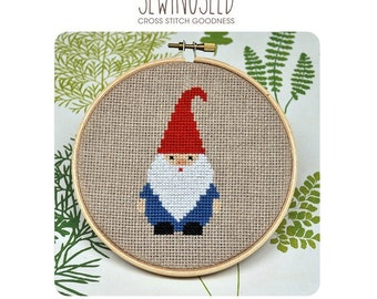 Cross Stitch Pattern, Gnome Cross Stitch, Instant Download, Beginner