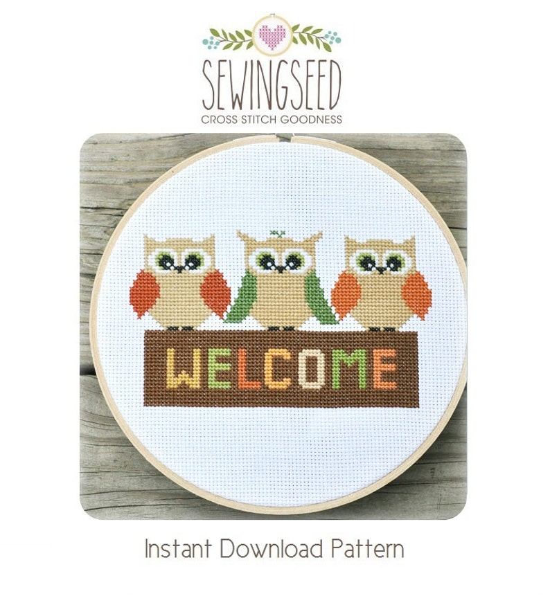 Owl Welcome Cross Stitch Pattern Instant Download image 0
