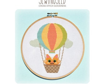 Kitty Balloon Cross Stitch Pattern Instant Download, Up and Away, Hot Air Balloon, Adventure