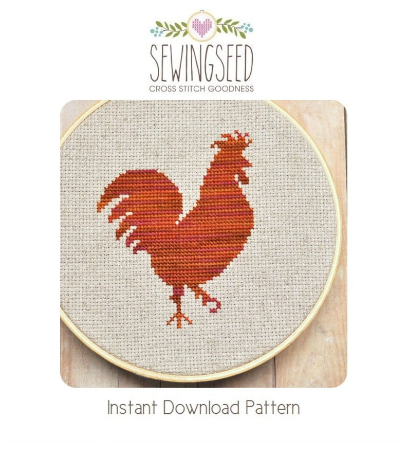 Rooster Silhouette Cross Stitch Pattern Instant Download image 0