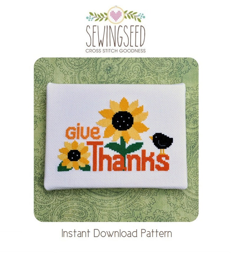 Give Thanks Cross Stitch Pattern Thanksgiving Instant image 0