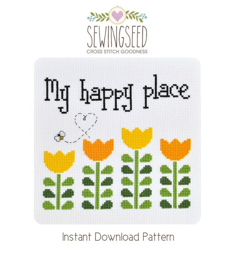 My Happy Place Garden Cross Stitch Pattern Instant Download image 0