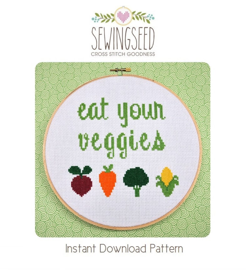 Eat Your Veggies Cross Stitch Pattern Instant Download image 0