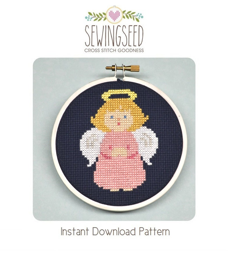 Little Girl Angel Cross Stitch Pattern Instant Download DIY image 0