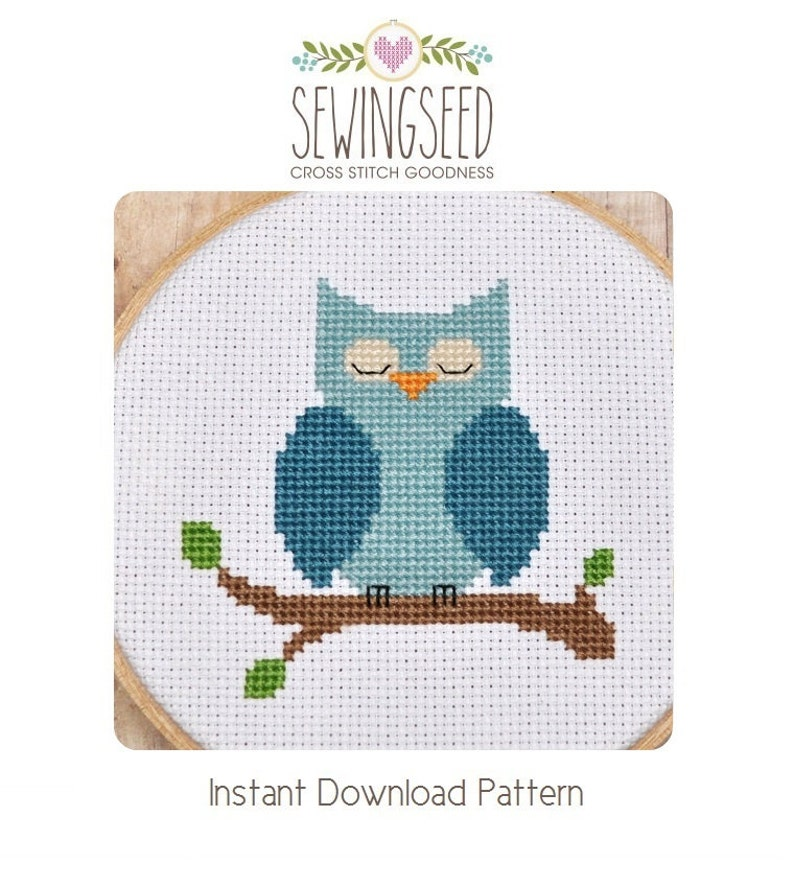 Cross Stitch Pattern Owl Cross Stitch Blue Owl Instant image 0