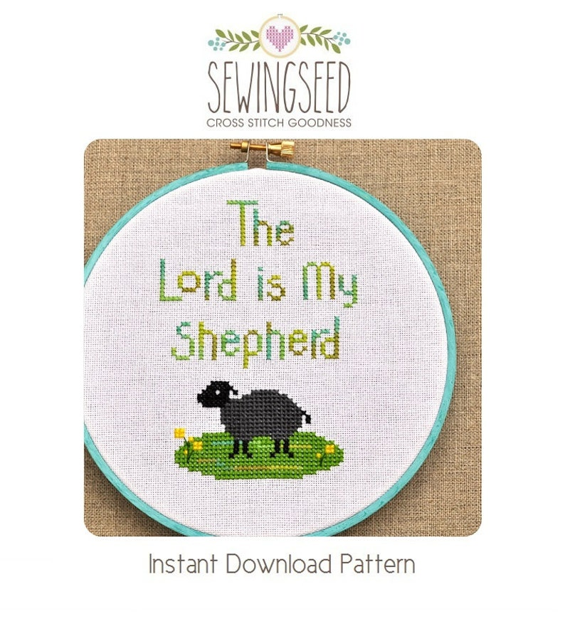 The Lord is My Shepherd Cross Stitch Pattern Instant Download image 0