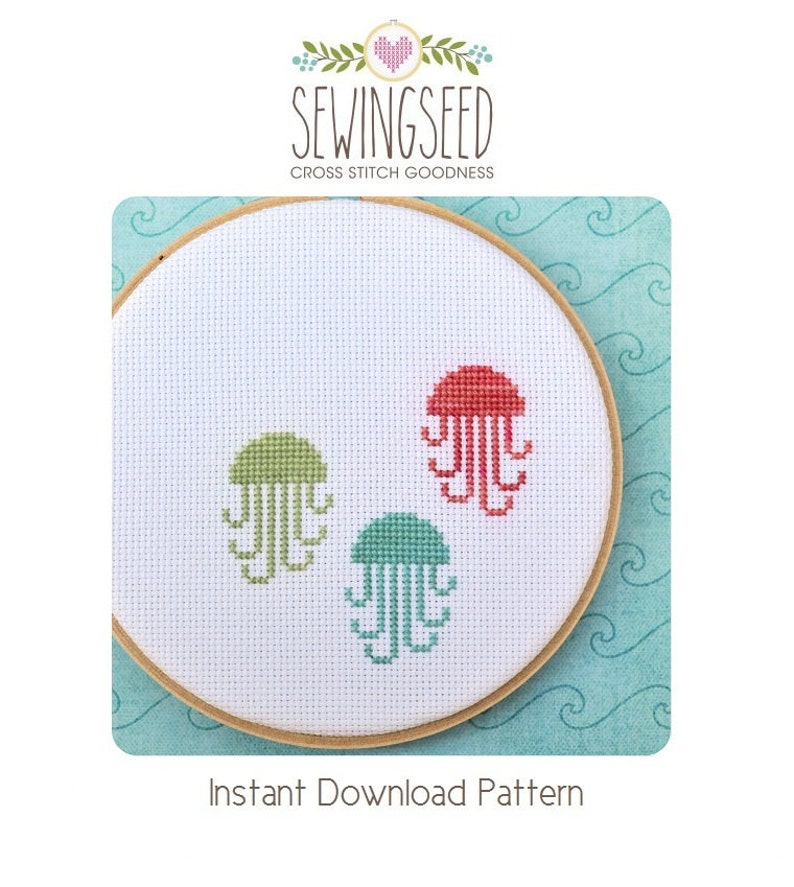 Jellyfish Counted Cross Stitch Pattern Instant Download image 0