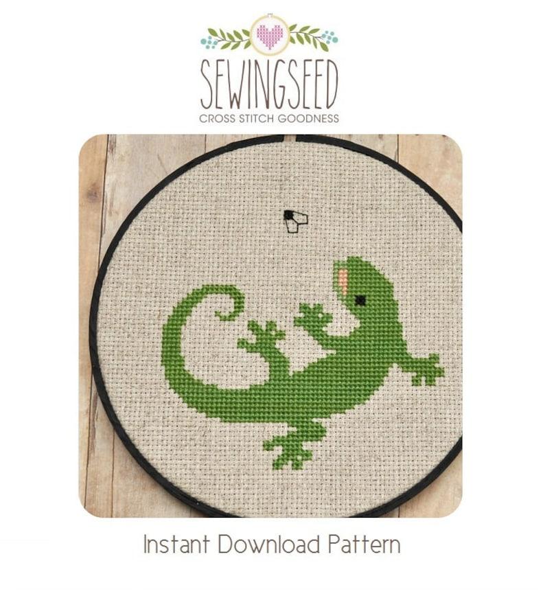 Lizard Cross Stitch Pattern Gecko Instant Download image 0