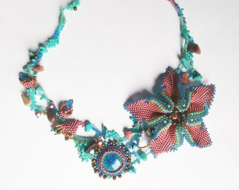 Secret Garden necklace/ beaded flowers necklace / fancy necklace