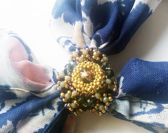 Blue Gold swarovski beaded accessories for scarf / Scarf Ring Holder / Beaded Scarf Ring /Ring Scarf Slide Handmade