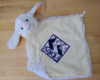 White Bunny Minky Blanket - Monogrammed Rabbit Blankie - Monogram Baby Bunny Gift - Security Blanket