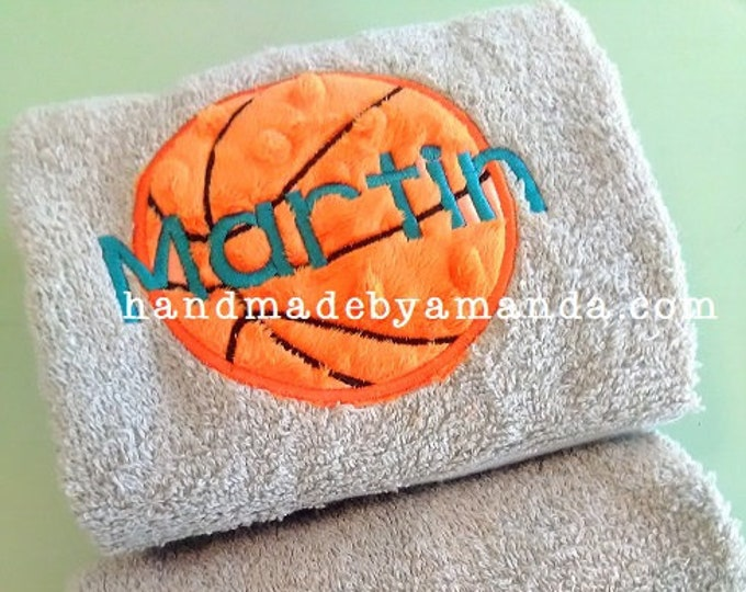 Basketball applique + Player name Monogram Hand Towel SET OF 2  - Monogrammed Sports Hand Towel Set - Team Gift