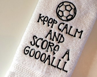 "Soccer Towel - ""Keep Calm and Score a Goal"" - Sports Towel - Soccer gift"