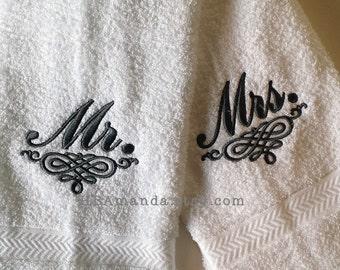 Dr, Mr, or Mrs Monogram + Embellish Scroll Hand Towel Set of 2 - Mr and Mrs hand towels