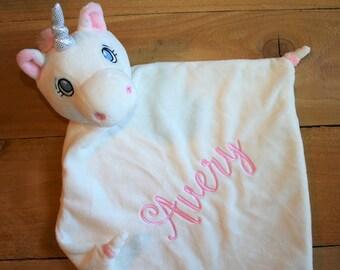 White UNICORN Lovie Blankie - White Monogrammed Unicorn minky Lovey