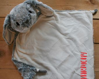 LARGE Gray BUNNY Minky Blanket - Monogrammed Bunny Rabbit Blankie 17x17 - Bunny Security Blanket