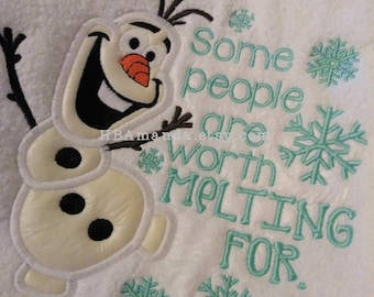 Some People Are Worth Melting For - Olaf Frozen themed hand towel - Monogram Gift towel