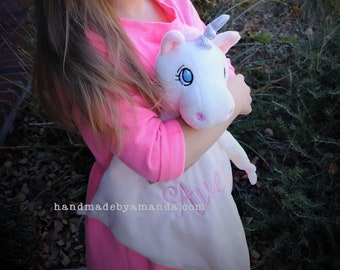 Unicorn Lovey blanket - White + Pink Monogrammed Unicorn Blankie - Unicorn blanket