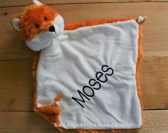 "Orange FOX Minky Lovie Blanket - Baby Fox Monogram Lovey 13"" x 13"" LIMITED EDITION"