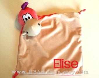 PINK Dragon Lovie Blanket -Pink Monogrammed Dragon Blankie - Cubbie Blanket