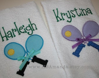 Tennis Doubles Partners Towels - Tennis Rackets Towel SET OF 2  - Applique + Monogrammed Sports Towel Set - Team Gift