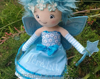 Fairy Plush Rag Doll - Monogrammed Fairy Doll - the little Fairy - choose your monogram design PREORDER- arrives in early MARCH