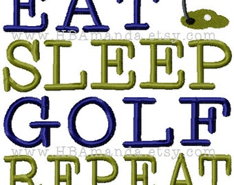 EAT SLEEP GOLF Repeat Quote Towel - Golfer Sports Towel - Golf Pro Gift Towel