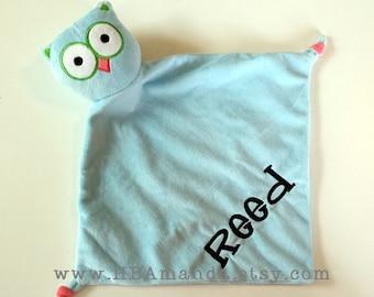 Blue Owl Minky Blanket - Blue Monogrammed Owl Blankie - Monogram Baby Owl Gift - Security Blanket - Cubbie Blanket