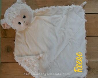 LARGE White FUZZY Lamb Minky Blanket - Large Lamb Blankie 17x17 - Monogram Baby Lamb - Lamb Security Blanket